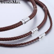 braided rope necklace images Dropshipping 2018 classic men 39 s leather necklace choker black jpg