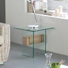 Oak And Glass Side Table Living Room Stylish Glass Side Table With Oak Detail By Marckeric