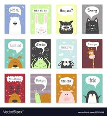 greeting cards set animals royalty free vector