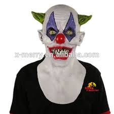 Creepy Clown Halloween Costumes Merry 2016 Scary Clown Mask Wide Smile Green Hair Evil
