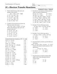 Standard Reduction Potentials Table 21 Electron Transfer Reactions U2022