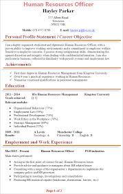 hr resume template hr officer cv template tips and cv plaza