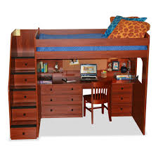 full size loft bunk bed with hidden stairs storage and studying