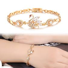 bracelet hand images Beautiful swan bracelet female gold color crystal hand jewelry jpg