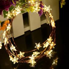 3m 30 led copper wire light star flower snow chirstmas tree
