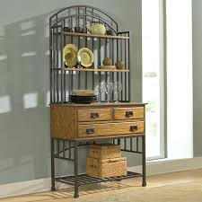 bakers rack with cabinet shop home styles oak hill oak antique bronze wood bakers rack at