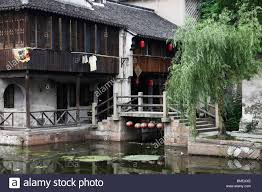 Two Story Houses by Traditional Two Story Houses Along The River Nanxun Huzhou Stock
