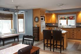 Kitchen And Dining Room Colors by Oak Kitchen With Blue Grey Wall Color Kitchen Reno Is Not In The