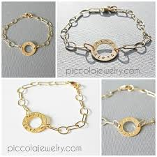 gold baby name bracelets personalized gold washer ring circle bracelet with name braclet