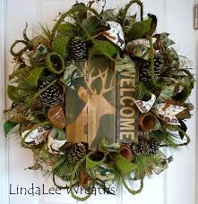 deer wreath welcome wreath camouflage wreath deco mesh wreath