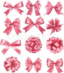 big present bow big set of pink gift bows and ribbons vector illustration