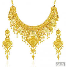 set of gold 22k exclusive net design set ajns58433 22k gold necklace and