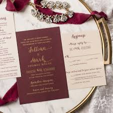 wedding invitations burgundy jillian s gold and burgundy wedding invitation suite