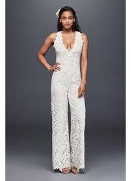 wedding dress jumpsuit guipure lace and crochet jumpsuit david s bridal