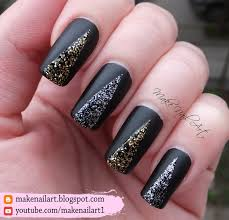 make nail art easy prom nails black matte with glitter nail art