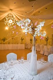white wedding centerpiece with pink flowers demers banquet hall