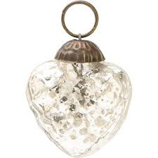 mini silver mercury glass ornament embossed design