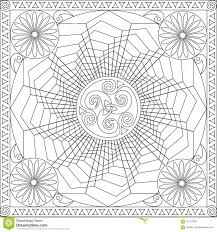 coloring page book for adults square format geometric flower