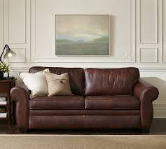 Leather Brown Sofas Pearce Leather Deluxe Sleeper Sofa Pottery Barn