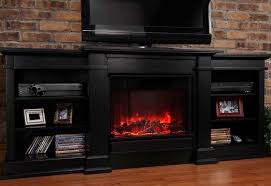 Black Electric Fireplace Rustic Style Family Room Decor With Tv Stand Electric Fireplace