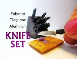 polymer clay and aluminum dollhouse miniature kitchen knife set