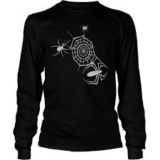 halloween black widow web spider shirt and longsleeve tee