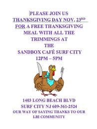 free thanksgiving day dinner at the sandbox cafe in surf city