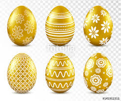 gold easter eggs gold easter eggs with patten set isolated on transparent background