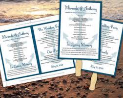 Beach Wedding Program Templates Diy Wedding Program Fan Template Beach Ceremony Program
