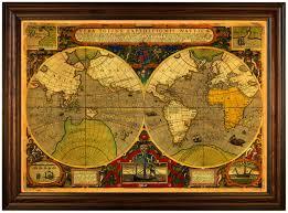 Framed World Map by Vera Totius Expeditionis Nauticae 1595 Francis Drake Battlemaps Us