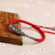 silver rope charm bracelet images Sterling silver fish lucky red rope shambala bracelet handmade jpg