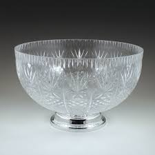 Pedestal Punch Bowl 12 Qt Crystalware Cut Pedestal Bowl Plastic Cups Utensils