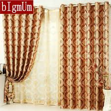 Yellow Brown Curtains Blakcout Shade Curtains For Living Room Luxury Curtain Blue