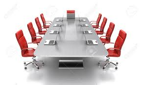 Red Leather Chair 3d Render Of Conference Table With Red Leather Chairs Stock Photo