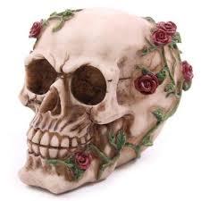 skull with roses cake topper