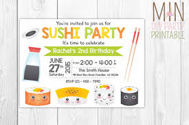 army birthday invitations sushi invitation sushi invitation printable sushi invitation