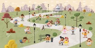 of happy in the park royalty free cliparts