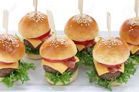 mini hamburgers mini burgers party food finger food stock photo