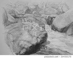 pencil sketch mountain stream rough sketch stock illustration