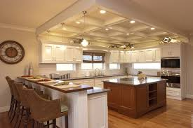 Schoolhouse Pendant Lighting Kitchen Coffered Ceiling Kitchen Kitchen Traditional With Wood Cabinets