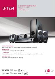 dvd home theater system lg lg electronics stereo system lht854 user guide manualsonline com