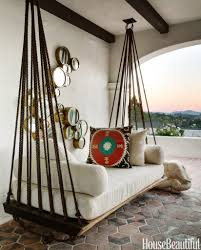 Suspended Bed by Hanging Outdoor Bed Love The Ropes And Rings House Beautiful