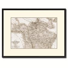 canada alaska vintage sepia map canvas print picture frame gifts