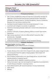 Sample Resume For Hr Generalist by Hr Generalist Resume Template Examples
