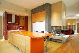 kitchen style red ceramic tile backsplash orange laminate island