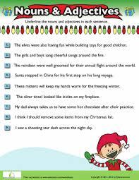 christmas nouns and adjectives 10 worksheets grammar and christmas