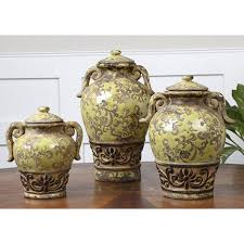 tuscan canisters kitchen set 3 canisters world tuscan country olive jars pottery