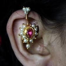 bugadi earrings pearl bugadi with pink sonchafa