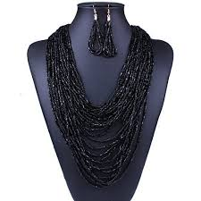 multi layered black necklace images Womens layered long black necklace jpg