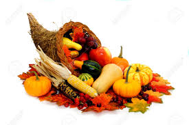 harvest or thanksgiving cornucopia filled with vegetables stock